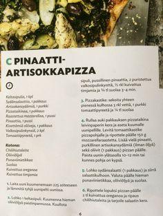 Pinaatti-artisokka-pizza