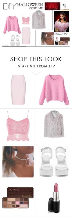 """""""DIY Halloween Costume - Chanel#2 from Scream Queens"""" by prettilygirl ❤ liked on Polyvore featuring Finders Keepers, River Island, Glamorous, Nly Shoes, Too Faced Cosmetics and MAC Cosmetics"""