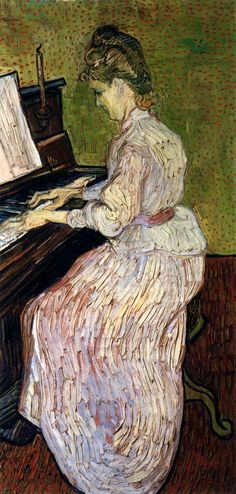Marguerite Gachet at the Piano (1880). Van Gogh was again using the dots which are such a characteristic hallmark of Japanese art. In his portrait of Marguerite Gachet, the background is dotted with tiny dabs of oriental origin.