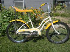1980's yellow, Huffy, banana seat bike
