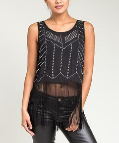 Another great find on #zulily! Black & Silver Studded Fringe Tank #zulilyfinds