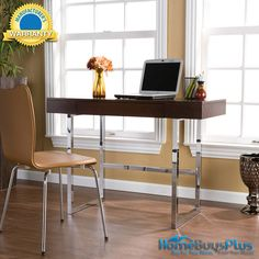Brooklyn Desk Espresso And Chrome-Chrome&_#44; Particle Board, Wood.  $279.99