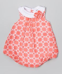 Look at this Coral Quatrefoil Bubble Romper - Infant on #zulily today!