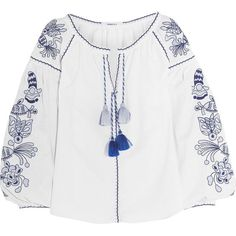 MARCH11 Poppy embroidered linen blouse (1.995 BRL) ❤ liked on Polyvore featuring tops, blouses, white, embroidery top, embroidered blouse, white loose blouse, loose fit tops and loose fitting tops