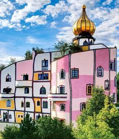 Friedensreich Hundertwasser - Thermendorf, Bad Blumau Poster Kunstdruck 48 x 48 cm Ful House, Friedensreich Hundertwasser, Red Houses, Floor Murals, Parks, Built Environment, Gaudi, Cool Posters, Beautiful Buildings