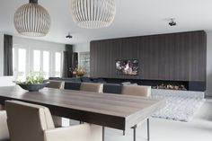 Bespoke cabinets with integrated fire place. Design of this penthouse in Amsterdam by Remy Meijers. Floors by Senso. Contemporary Interior, Modern Interior Design, Interior Architecture, Fireplace Wall, Fireplace Design, Living Tv, Shelving Design, Luxury Penthouse, Living Room Designs