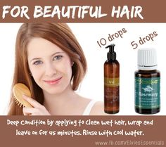 Want healthy shiny hair? Add 2-5 drops Rosemary essential oil with 10 drops of Young Living's V-6 Enhanced Vegetable Oil Complex. Work the oils through dampened hair and massage the scalp. Wrap your head in a warm towel and leave on for 45 minutes, then rinse with cool water! Check out more ways to use Young Living oils at www.facebook.com/ElviesEssentials