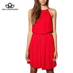 BP Fashion New red sexy straps sleeveless dresses Spring dress real photo
