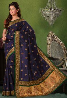 Navy Blue & Maroon Color Dhuppian Silk Saree