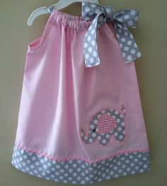 Pink Elephant pillowcase dress by Valentinasplace on Etsy, $28.00
