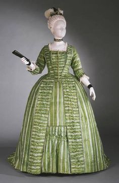 1770-1780, France Robe à la Française Bright green and white striped silk plain weave exported from China; silk looped trim; silk taffeta Philadelphia Museum of Art
