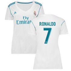Ronaldo Real Madrid adidas Women's 2017/18 Home Replica Patch Jersey - White
