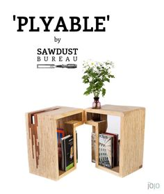 Plyable tables by Sawdust Bureau. Handcrafted from offcut strips of plywood. A truly multi-functional piece of furniture perfect for small apartments. Can be used as a set of bedside tables, joined into a lounge side table, or separated as stools. Features lots of built in storage. Customised sizes available. #sawdustbureau #furniture #melbourne #design