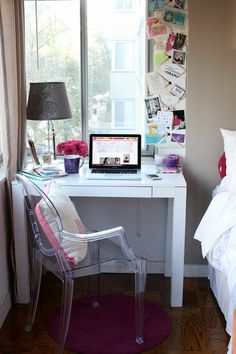 If you have a small space next to a window like this, use it like a bulletin board to display photos, tickets, and more! #smallspacestyle