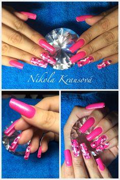 Nikka nails, long nails, pink nails, one stroke, summer nails