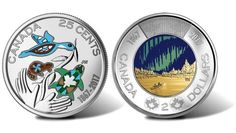 Canadian 2017 25c Color and $2 Glow-in-the-Dark Coins