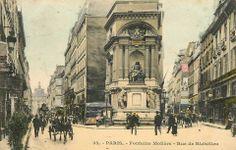 Molière (1622-1673) est né/baptisé il y a 392 ans. Voici son imposante fontaine, vers 1900, avec à droite la rue qui porte son nom et à gauche la rue de Richelieu où il est mort.