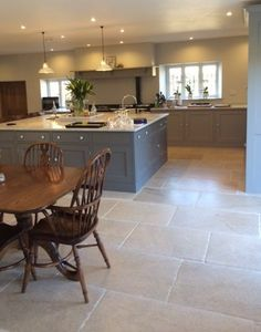 Tumbled Aged Dijon Limestone Tiles Flagstone Slabs for sale online Open Plan Kitchen Living Room, Barn Kitchen, Home Decor Kitchen, Country Kitchen, Kitchen Interior, New Kitchen, Home Kitchens, Kitchen Dining, Limestone Flooring