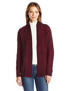 Jason Maxwell Women's L/s Mixed Stich Roll Back Collar Cardigan Sweater