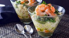 Quick Pasta Parfait....Individual cups layered with pesto, pasta and shrimp for a gorgeous party presentation.