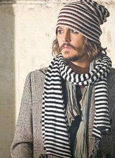 Johnny Depp in stripes. This is my second favorite picture of him of ALL TIME!!! :D