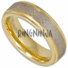 6MM Laser Etched 'Celtic' Tungsten Wedding Ring Stepped Edge w/ 18K Gold Plating  $63