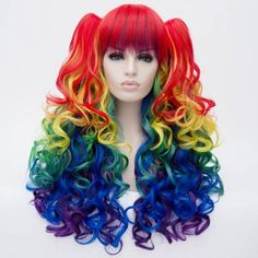 Fashion Fluffy Full Bang Colorful Ombre Charming Long Wavy Heat Resistant Synthetic Wig with Bunches For Women