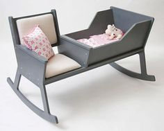 Rockid, a rocking chair and cradle in one! While softly swinging the rocking chair and reading a book or singing a lullaby, the baby falls asleep. When the baby outgrows the cradle, it is possible to reconstruct the Rockid into a rocking chair. Deco Kids, Everything Baby, Deco Design, Design Design, Baby Furniture, Furniture Ideas, Simple Furniture, Modern Furniture, Furniture Layout