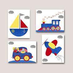 Blue Red Yellow Gray Instant Download Print Playroom Art Printable Art Digital Download Car Nursery Art Digital Art set of 4 8x10 11X14 by nataeradownload on Etsy