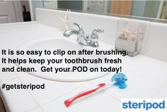 It is as easy as clipping it on. No excuses, get your pod on.  #steripod #toothbrush #getsteripod #bathroom #hygiene #nogerms