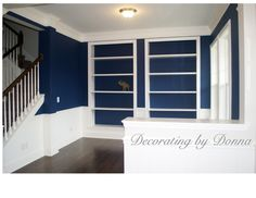 Cobalt Blue Family Room. I choose this color before I went to High Point so I'm glad I chose a trending color. Nailed it.