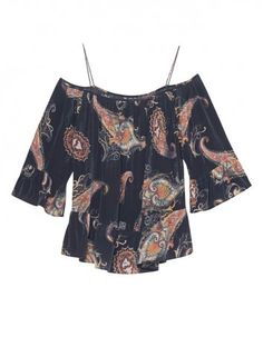 JADICTED Off Shoulder Paisley Black