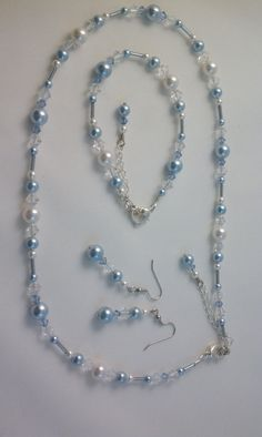 Bridesmaid Jewelry Light Blue White Swarovski by AWRdesigns