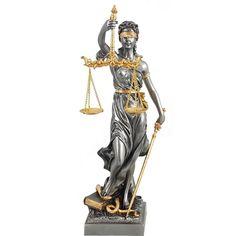 Römische Justitia 33cm mit Schwert, Waage und Gesetzbuch mit Blattgold verfeinert Religion, Wonder Woman, Superhero, Fictional Characters, Women, Art, Lady Justice, Gold Leaf, Scale
