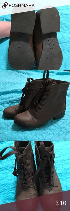 Brown ankle boots These cute ankle boots can be worn with jeans, leggings or even a cute dress! I love them but my feet grew after I had my baby. Versona Shoes Lace Up Boots