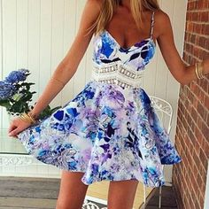 Stylish Spaghetti Strap Floral Print Lace Splicing Dress For Women Print Dresses | RoseGal.com Mobile