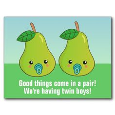 Newborn Twins Announcement - A cute pair or pear?