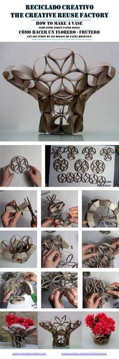 Florero – frutero realizado con tubos de rollos de papel higiénico. Ejercicio de clase de design 101 frutero