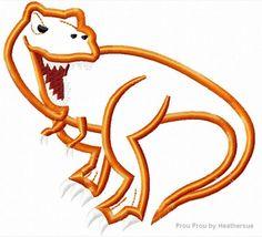 Tyrannosaurus T- Rex Dinosaur Machine Applique Embroidery Design, multiple sizes, including 4 inch