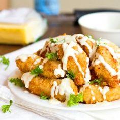 Parmesan Chicken Fingers + Garlic Cheese Sauce