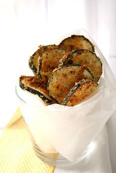 Baked zucchini chips: Bread crumbs, Milk or egg white, grated Parmesan cheese, Seasoned salt, garlic powder, black pepper, zucchini sliced 1/4 inch thick, baked at 425 til browned & crisp.