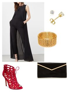 """""""5"""" by anjieffat on Polyvore featuring Chelsea & Zoe, Alice Menter, Amanda Rose Collection, gold, black, red, bodysuit and overall"""