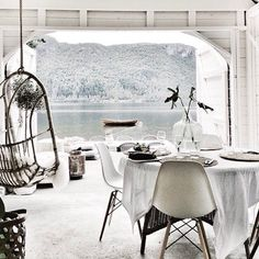 | Room with a view | white on white | contemporary lounge / dining room | Mono Luxe |