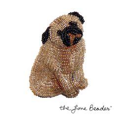 Beading Kit PUG bead embroidery dog pin pendant  by thelonebeader, $39.99