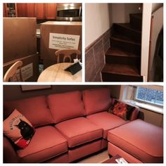Hi Jenny,  Here is a picture, of the boxes in my 200 sq ft kitchen, my very narrow staircase and the new sofa in my living room on the third floor.   Enjoy! Stacy