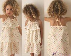 Patron couture gratuit robe fille à volants - couture facile pour coudre une robe fillette à volants