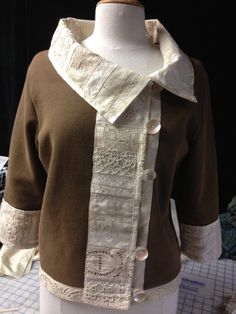Items similar to Lace-Trimmed Sweatshirt Jacket, Women's Sweatshirt Jacket, Upcycle Lace Jacket, Recycle Lace Jackdet on Etsy Sweatshirt Makeover, Sweatshirt Refashion, Umgestaltete Shirts, Altered Couture, Jackets For Women, Clothes For Women, Jacket Pattern, Cycling Outfit, Sewing Clothes