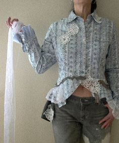 the accomplice. womens reconstructed vintage western shirt m. victorian cowgirl tattered lace eco friendly fashion altered upcycled clothing. $89.00, via Etsy.