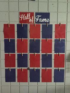 Baseball theme classroom. Hall of Fame for student work.