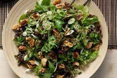 just made this green aromatic salad for lunch.a delicious choice for a winter menu Nut Recipes, Greek Recipes, Salad Recipes, Snack Recipes, Cooking Recipes, Healthy Recipes, Buffet Recipes, Recipies, Salad Bar